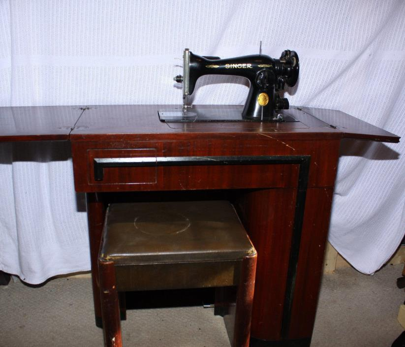 Vintage Singer 1948 15-91 Sewing Machine With No 42 Cabinet Art Deco See Video