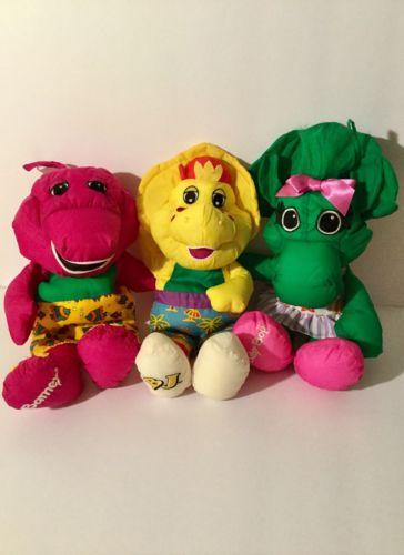 Vintage Barney Water Pals Plush Stuffed Toy 1993 Playskool: Barney, BJ, BabyBop