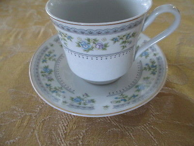 Blue roses China cup and saucer