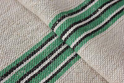 Vintage GRAINSACK grain sack feed BLACK GREEN WHITE stripe bag FUSTIAN fabric