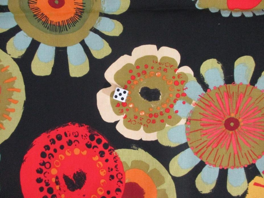 Mill Creek Fabrics Remnant 5+ Yds Bold Floral Black Orange Red Green 45