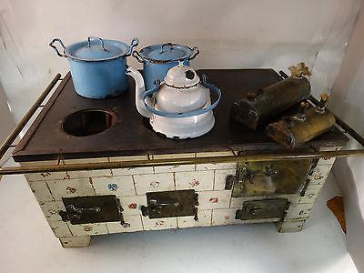 Antique Child's Stove Range  With Alcohol Burner +  Pots  - Marklin?