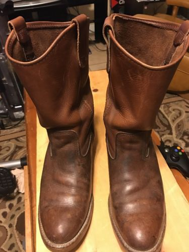 VINTAGE RED WING DISTRESSED MEN'S ENGINEER WORK LEATHER BOOTS  VGC
