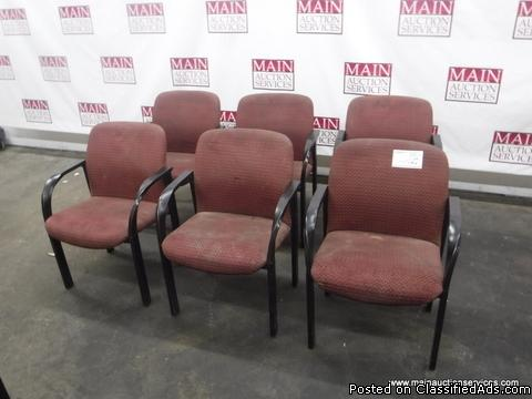 SIX RED OFFICE CHAIRS