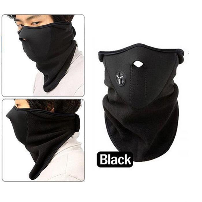 Thermal fleece scarf beanie neck hat ski winter unisex
