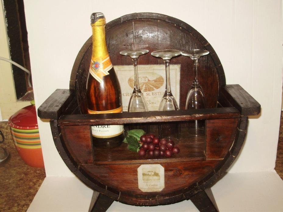 VINTAGE WINE BARREL GLASS & WINE BOTTLE HOLDER