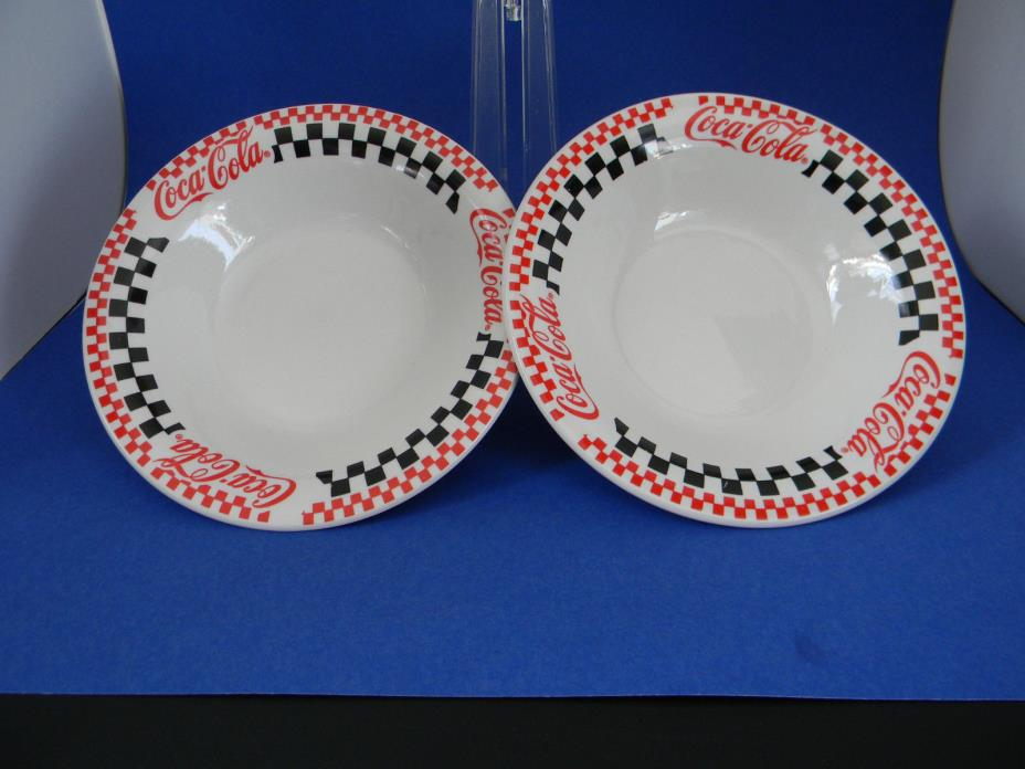 Set of two Gibson Houseware 1996 The Coca-Cola Company Dish Bowl Red White Black