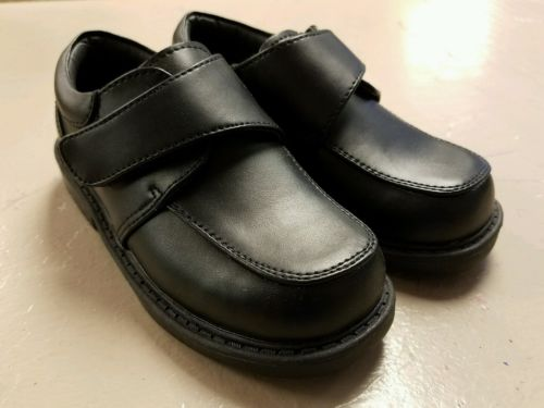boys black dress shoes size 8.5 velcro