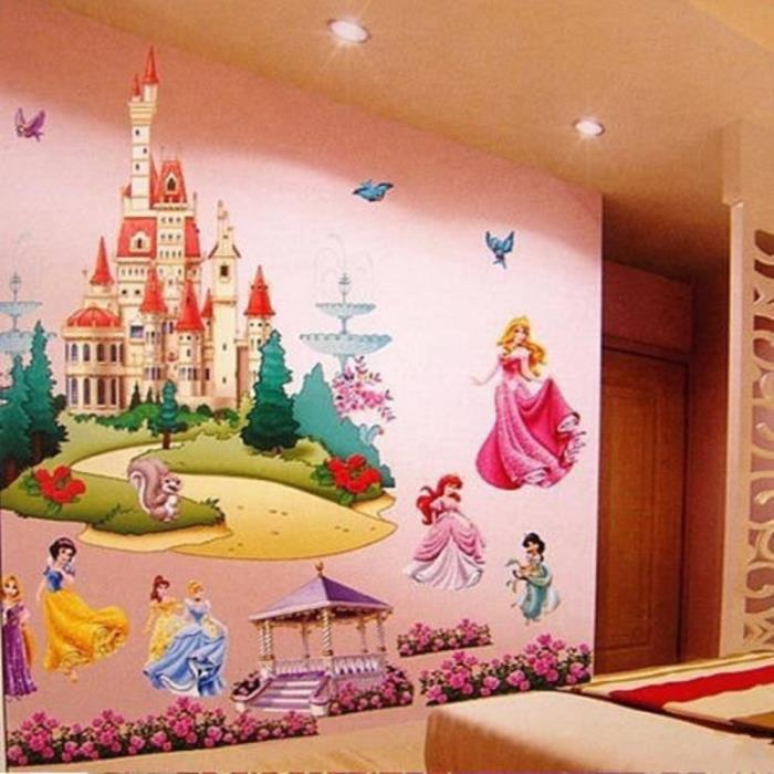 Large Colorful Princess Castle Wall Stickers Vinyl Decal Girls Kids wall Decor
