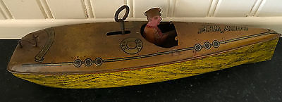 Baby Wee ~ Tin Wind Up Toy Boat ~ Working!