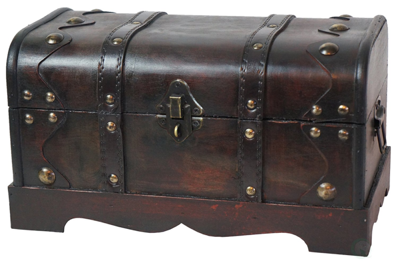 Vintiquewise(TM) Small Pirate Style Wooden Treasure Chest