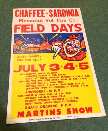 Chaffee Sardinia Volunteer Fire Co. Poster New York Memorial Field Day Carnival
