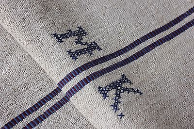 Vintage GRAINSACK grain sack feed MK monogram red blue stripe bag fabric organic