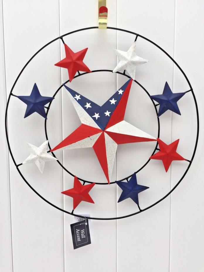 Decorative Rustic RED WHITE BLUE Patriotic Star Outdoor/Indoor Wall Decor NEW
