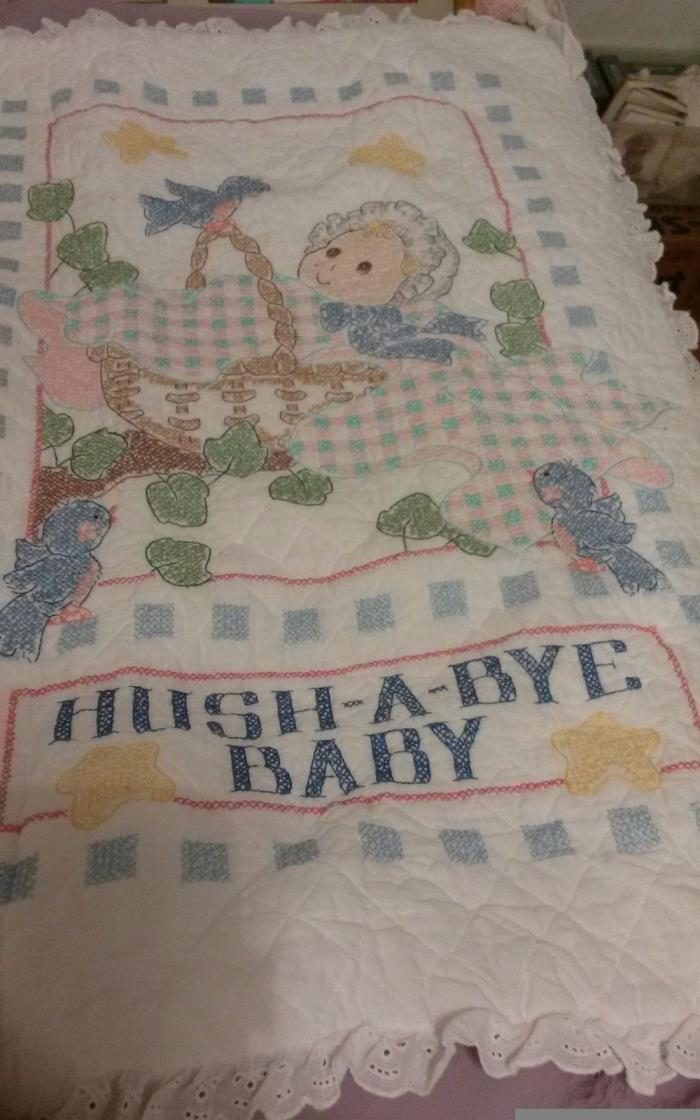 baby blanket quilt embroidered