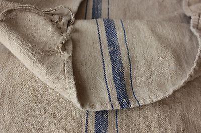 Vintage GRAIN SACK feedsack feedbag BLUE hemp linen CUTTER DAMAGED SECONDS