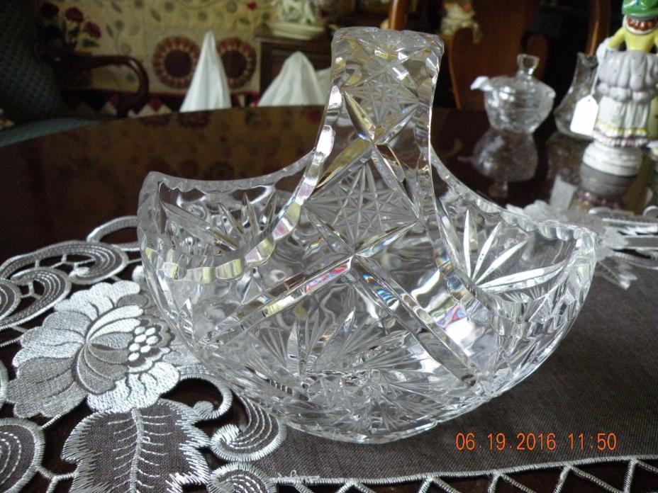 Vintage Crystal Brides Basket - Diamond Starburst Pattern