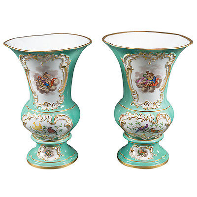 A Pair of German Meissen Porcelain Green Ground Painted Vases Circa 1890