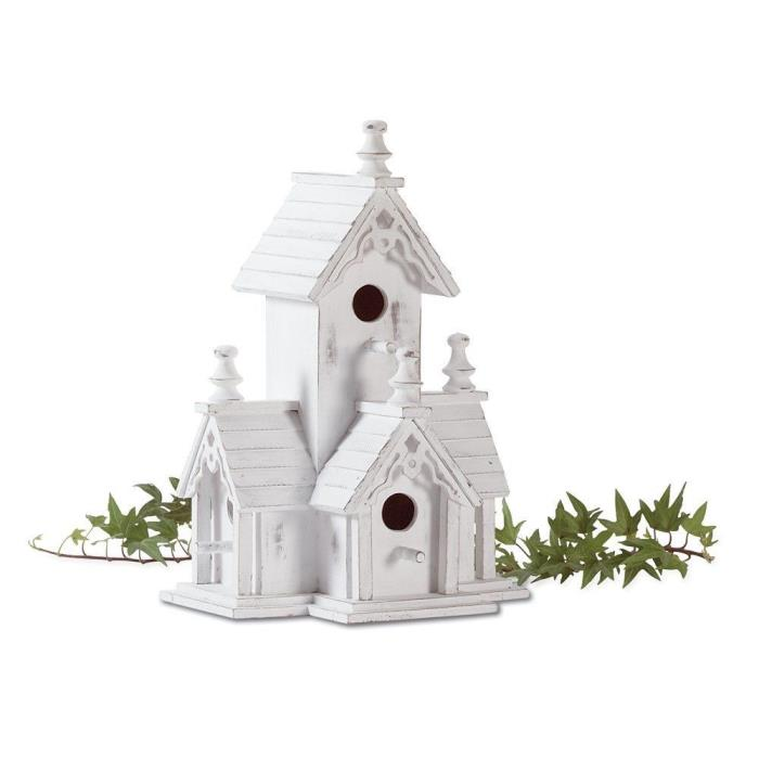 BIRDHOUSE: Shabby Distressed White Wood Victorian Style Chic Bird House NEW Gift