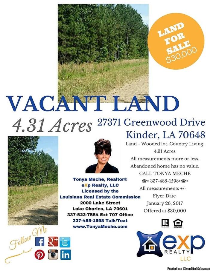 Kinder Land For Sale