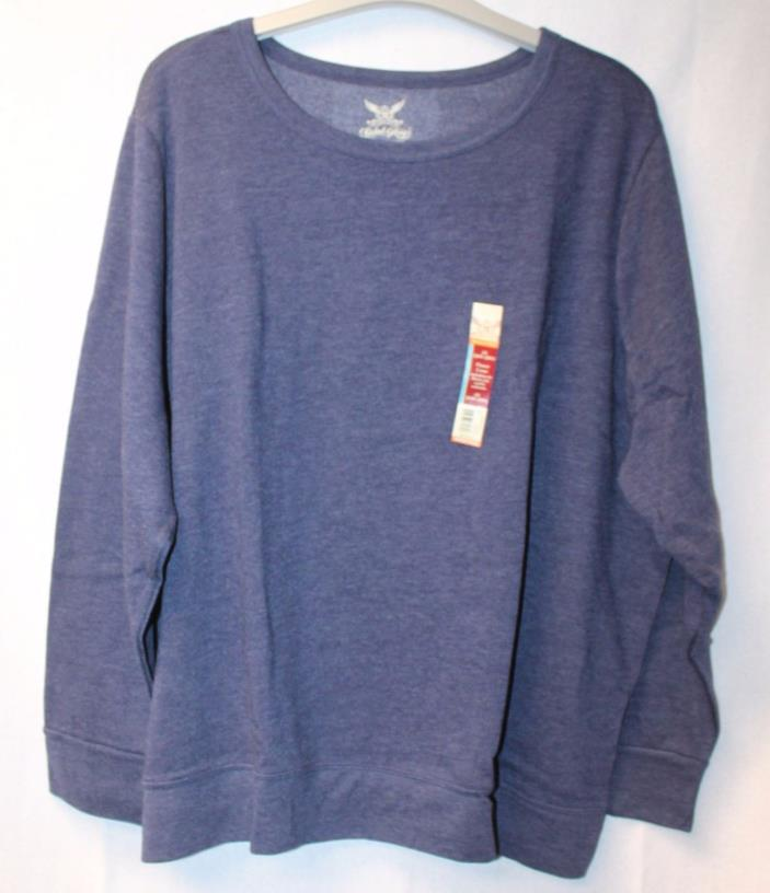 NEW WOMENS PLUS SIZE 5X 30W 32W NAVY BLUE SOFT& WARM FLEECE CREW NECK SWEATSHIRT