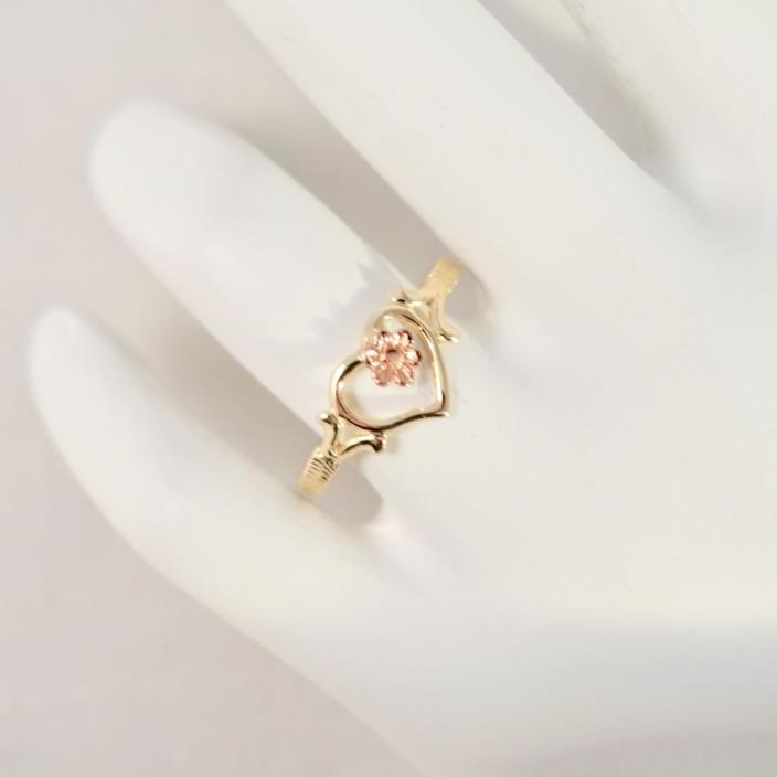 10K Yellow & Rose Gold Heart Ring with Flower