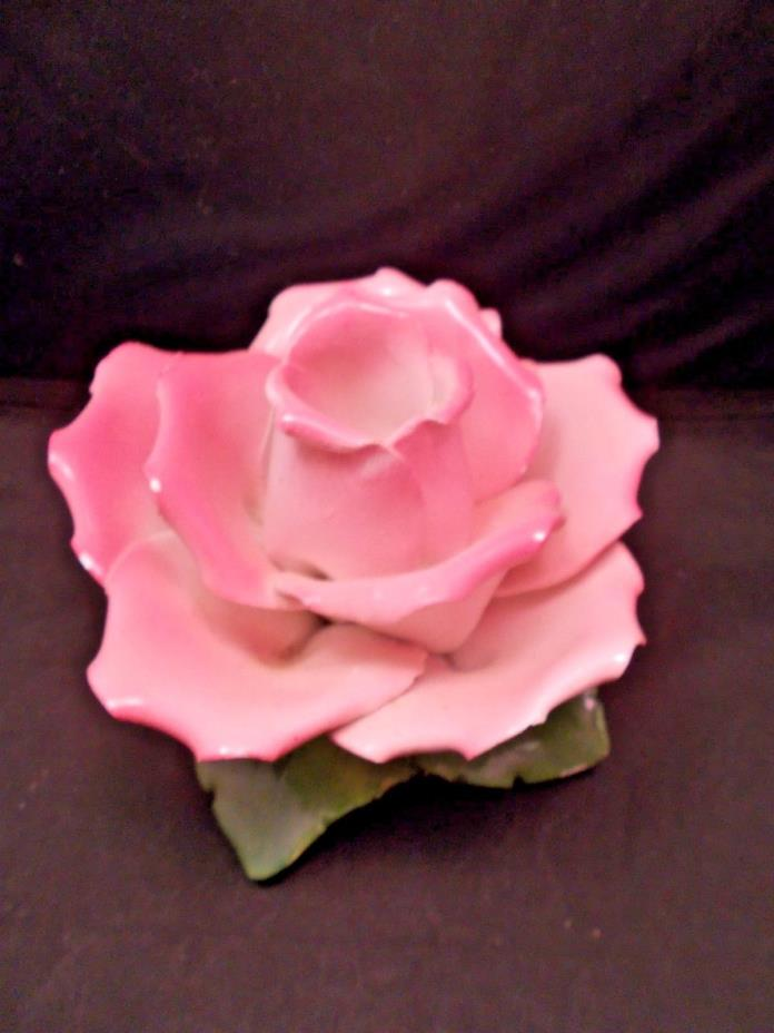 Flower Candle Holder PINK Made in Italy Impressed Stamp Large Capodimonte
