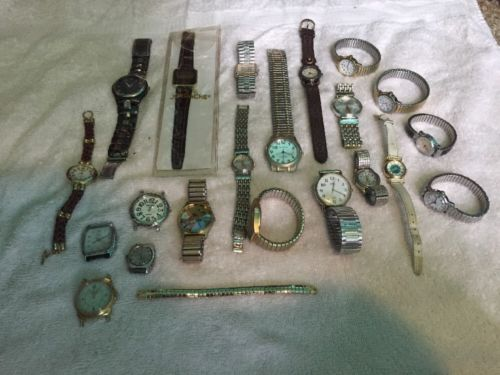 Large Lot Of 21 Watches Men's Women's Replacement For Parts