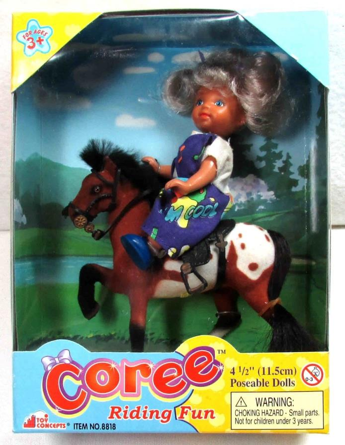Coree Doll on her Horse - Riding Fun! - Brown and White Horse with a Black Mane