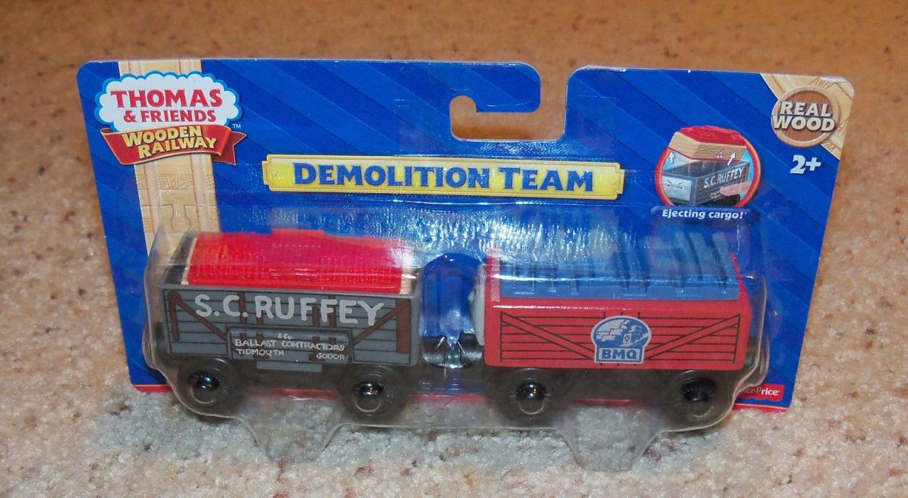 NEW IN BOX Thomas Train Wooden Demolition Team S C Ruffey Cargo, Wood Car Set