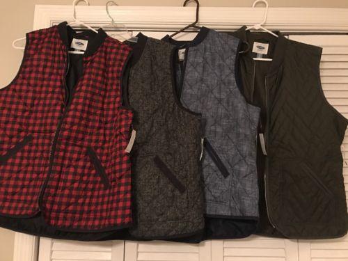 Lot Of 4 Old Navy Vests XL Buffalo Plaid,Green, Herringbone, Blue