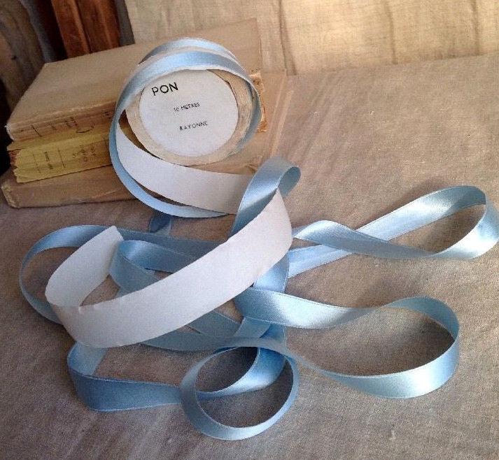 Vintage Blue Tape / French Satin Ribbon 9 m/ Vintage Wedding Something Blue NOS