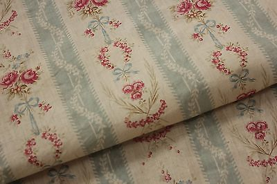 Antique French curtain 94 X 150 c1900 STUNNING floral stripe fabric material