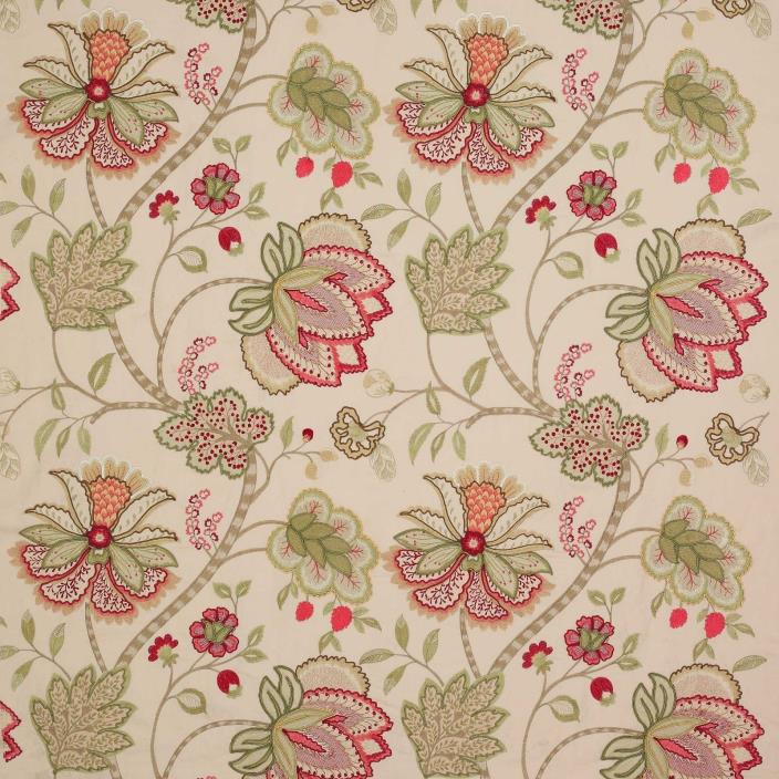 COLEFAX & FOWLER JACOBEAN BAPTISTA EMBROIDERED LINEN FABRIC 10 YARDS ROSE GREEN