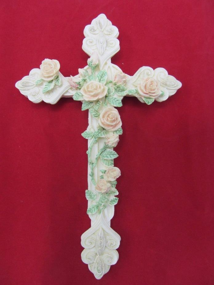 VINTAGE WALL HANGING CROSS WITH ROSES ART 9X5.5 INCHES