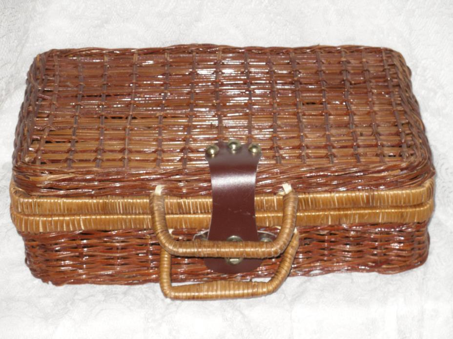 Woven Wicker Weave Box Basket Large Picnic Sewing Handles