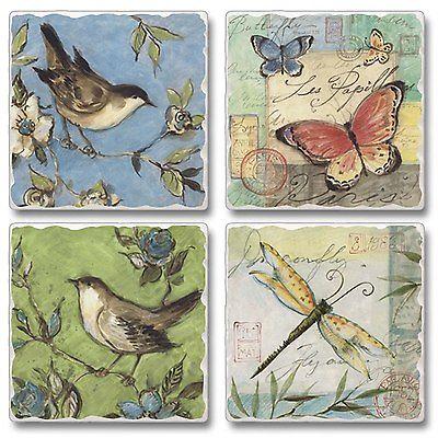 Nature Walk Birds Butterflys Dragonflys Flowers Tumbled Stone Coasters Set of 4