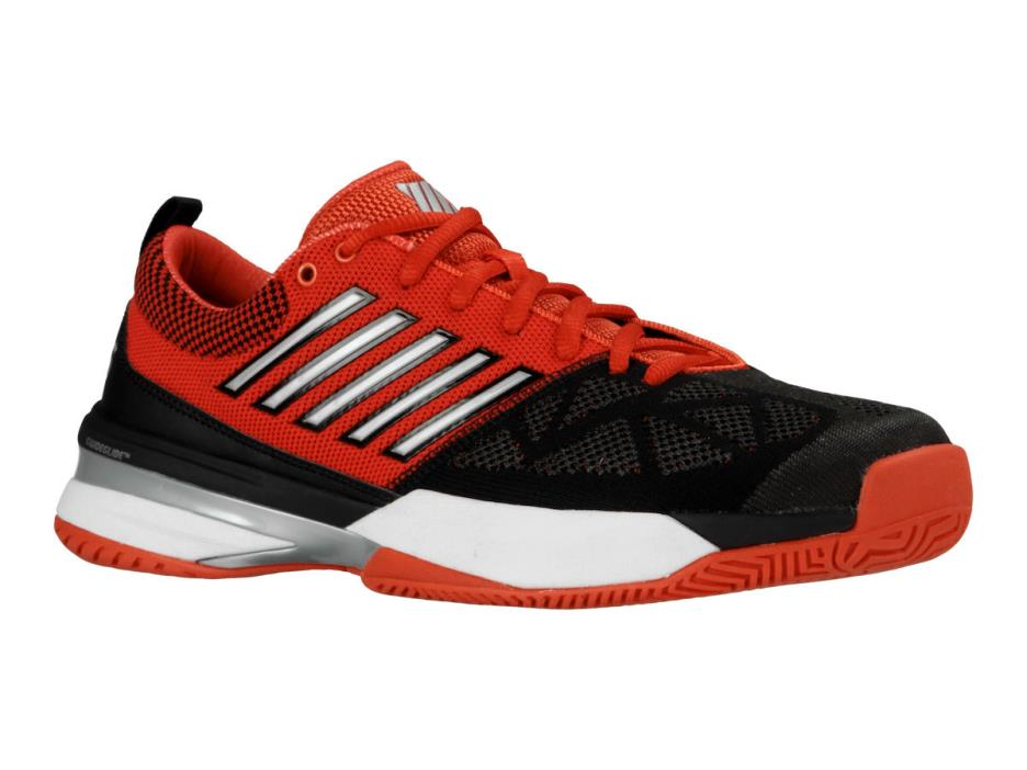 K Swiss Mens Knitshot Tennis Shoe - Black / Red