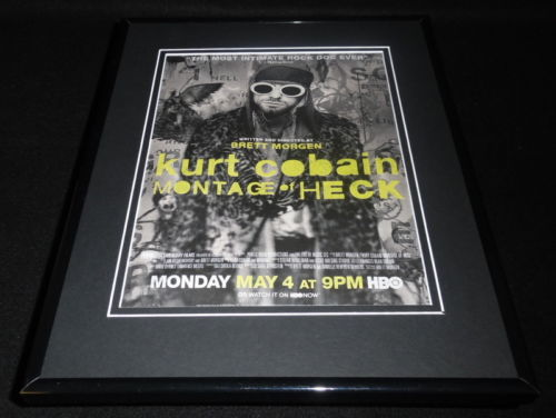 Kurt Cobain Montage of Heck 2015 Framed 11x14 ORIGINAL Advertisement HBO