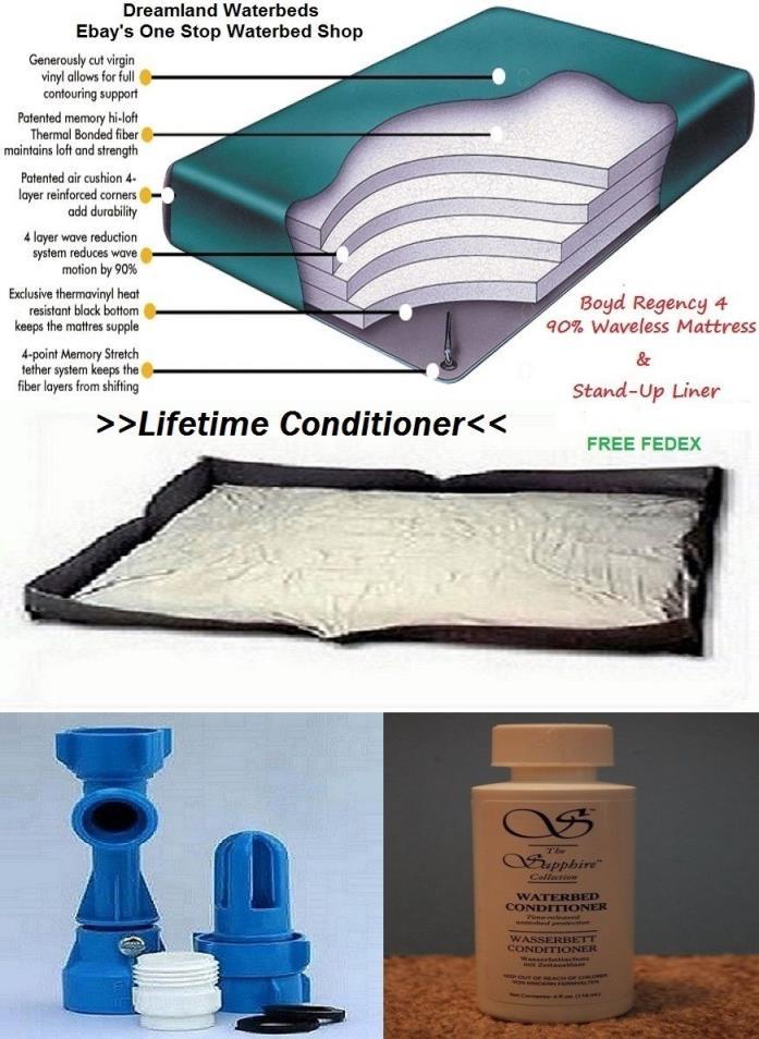 KING Boyd Regency 4-90% Waveless Waterbed Mattress+Liner & LIFETIME CONDITIONER
