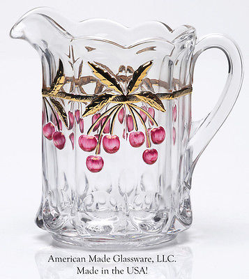 Crystal Handpainted Glass Cherry & Cable Pattern Pitcher