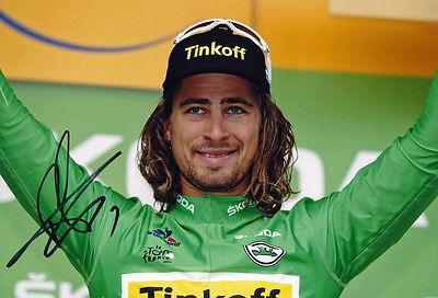 Peter Sagan Signed 8X12 inch 2016 Tour De France Green Jersey Podium Photo