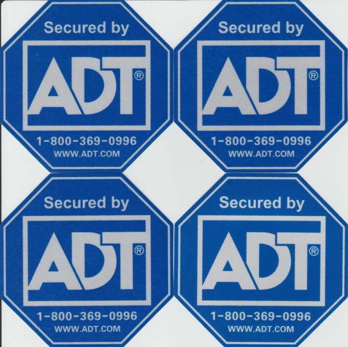 4 ADT Security Alarm Stickers / Decals - Waterproof - Reflective - no sign