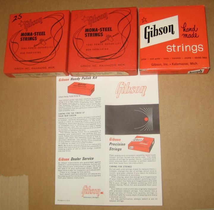 Gibson Tenor Banjo Strings & Price List. Vintage. Three Boxes.