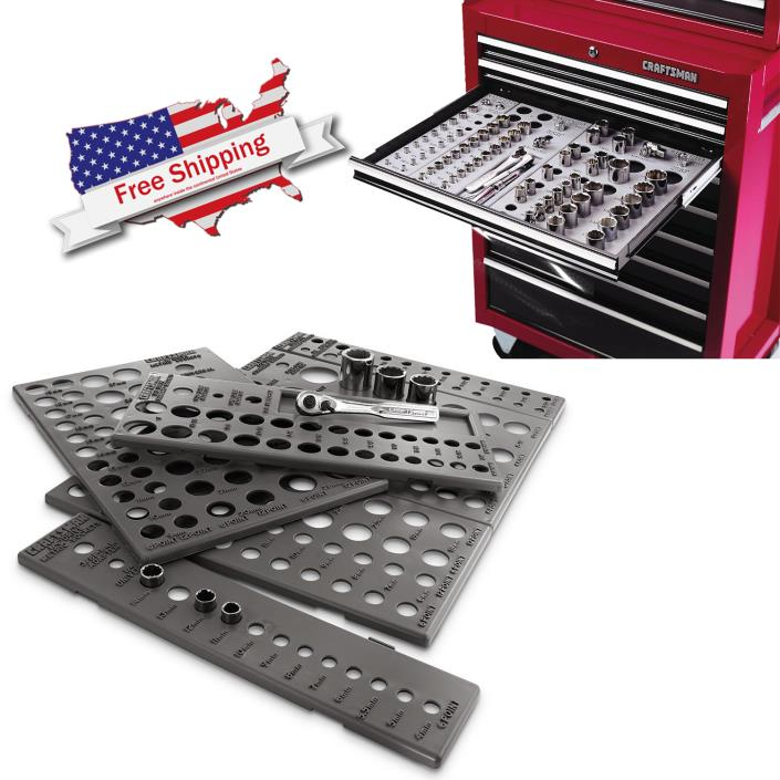 Craftsman Socket Organizer 6 Tray Wrench Set Tool Box Chest 195 SAE Units Holder