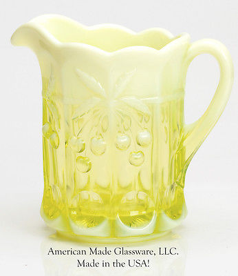 Vaseline Opalescent Glass Cherry & Cable Pattern Pitcher