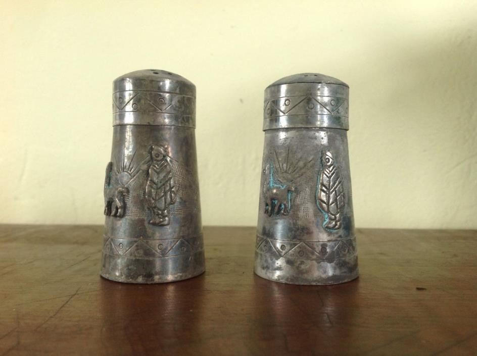 Vintage Peru 925 Sterling Silver Salt & Pepper Shakers Signed JVG S&P Pair