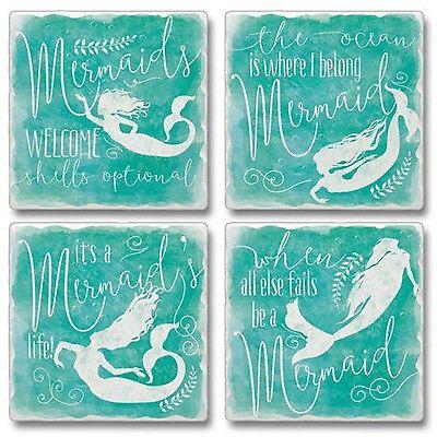 Mermaids Welcome Tumbled Stone Coasters Set of 4