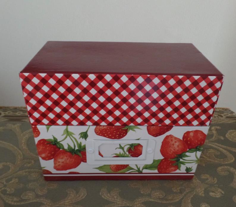 New Strawberry Recipe Card Box w/ Dividers and Cards Cardboard