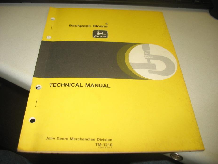 John Deere Technical Manual TM1210, 4 Backpack Blower